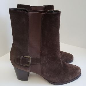 Cole Haan Brown Suede Leather Ankle Buckle Boots